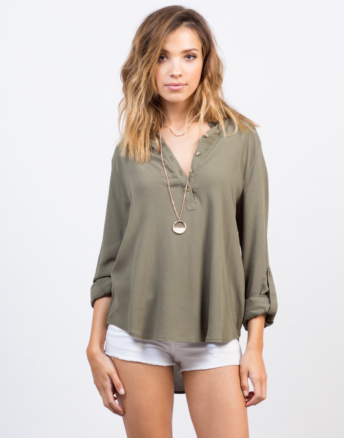 Front View of Button Up Chiffon Shirt