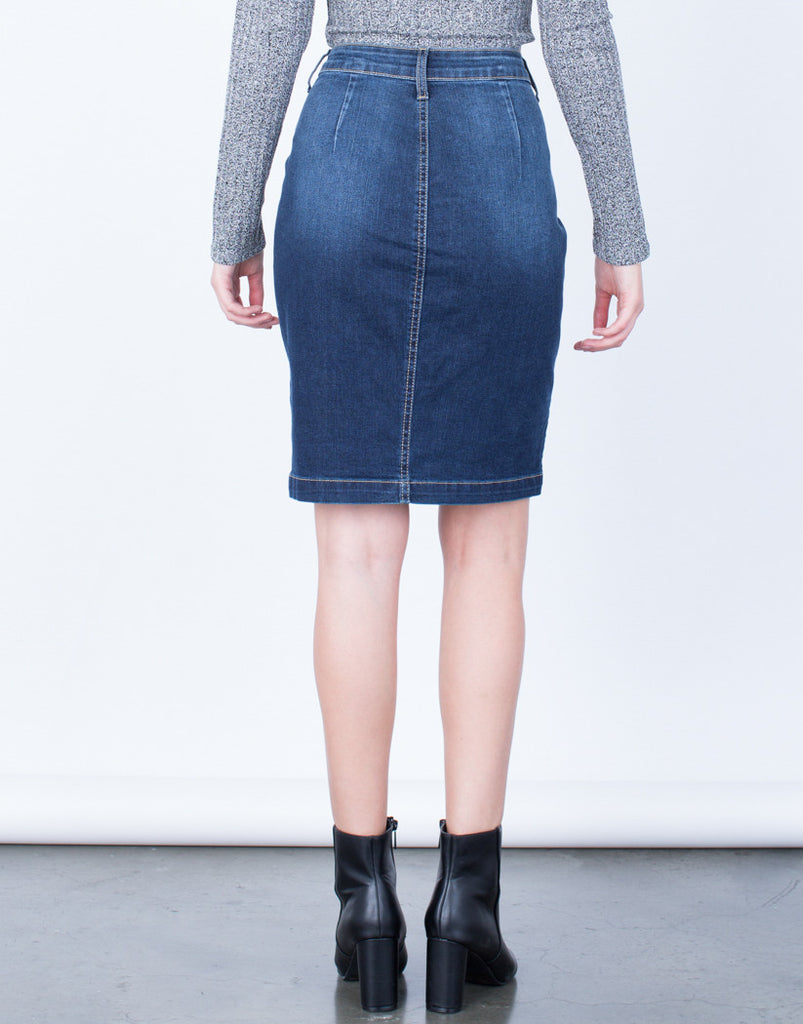 Back View of Button Up Denim Pencil Skirt