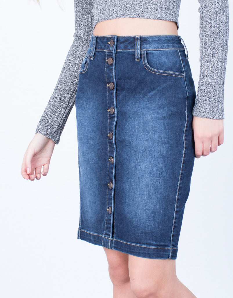 Detail of Button Up Denim Pencil Skirt