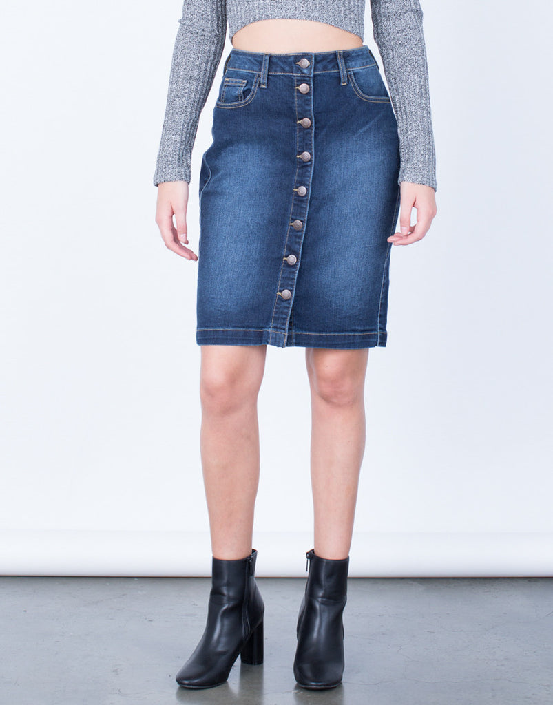 Front View of Button Up Denim Pencil Skirt