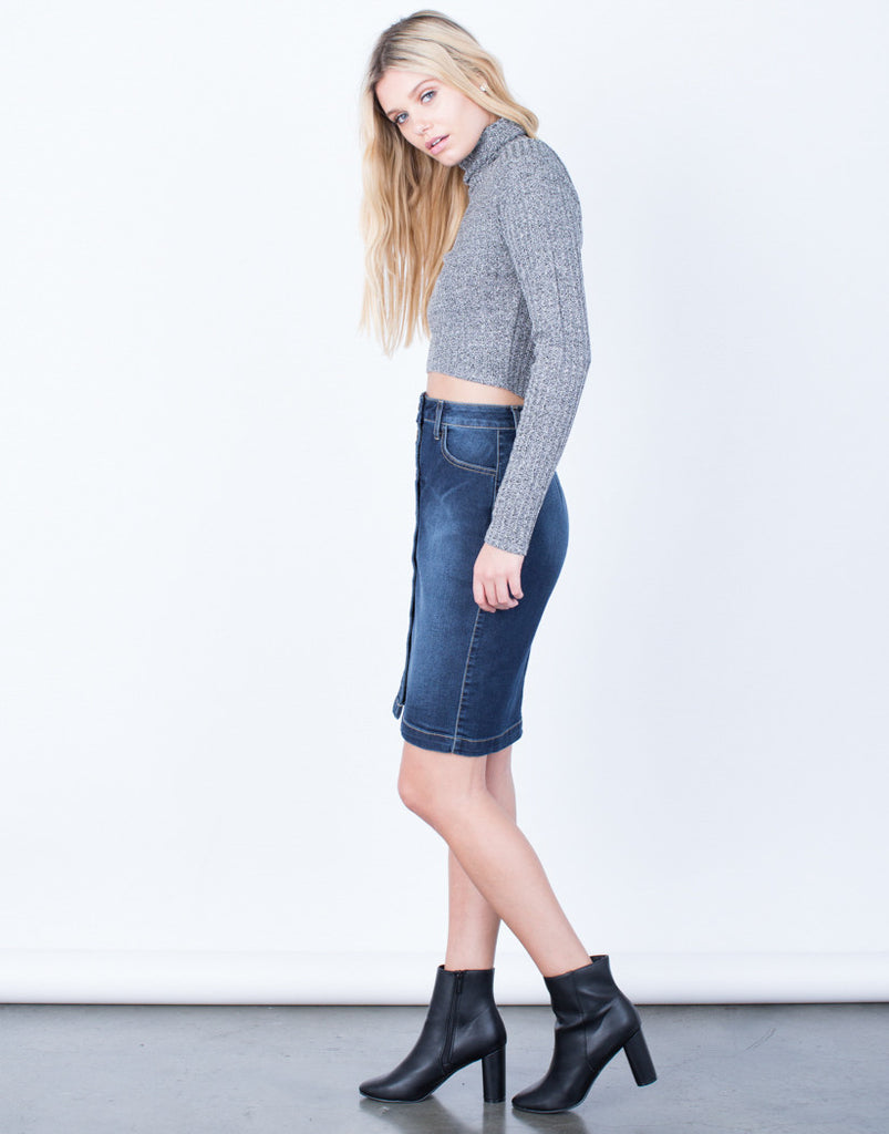 Side View of Button Up Denim Pencil Skirt