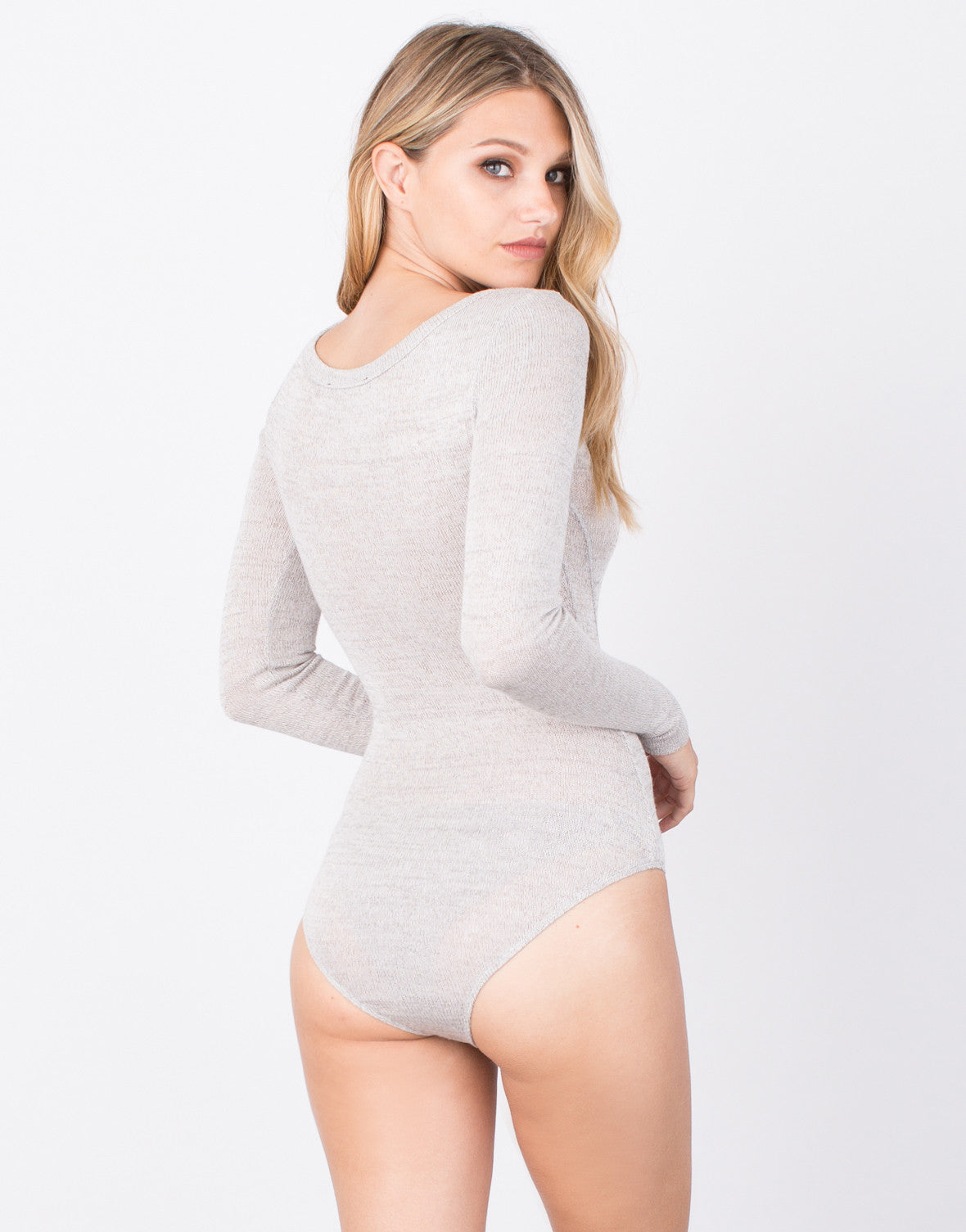 Back View of Button Up Knitted Bodysuit