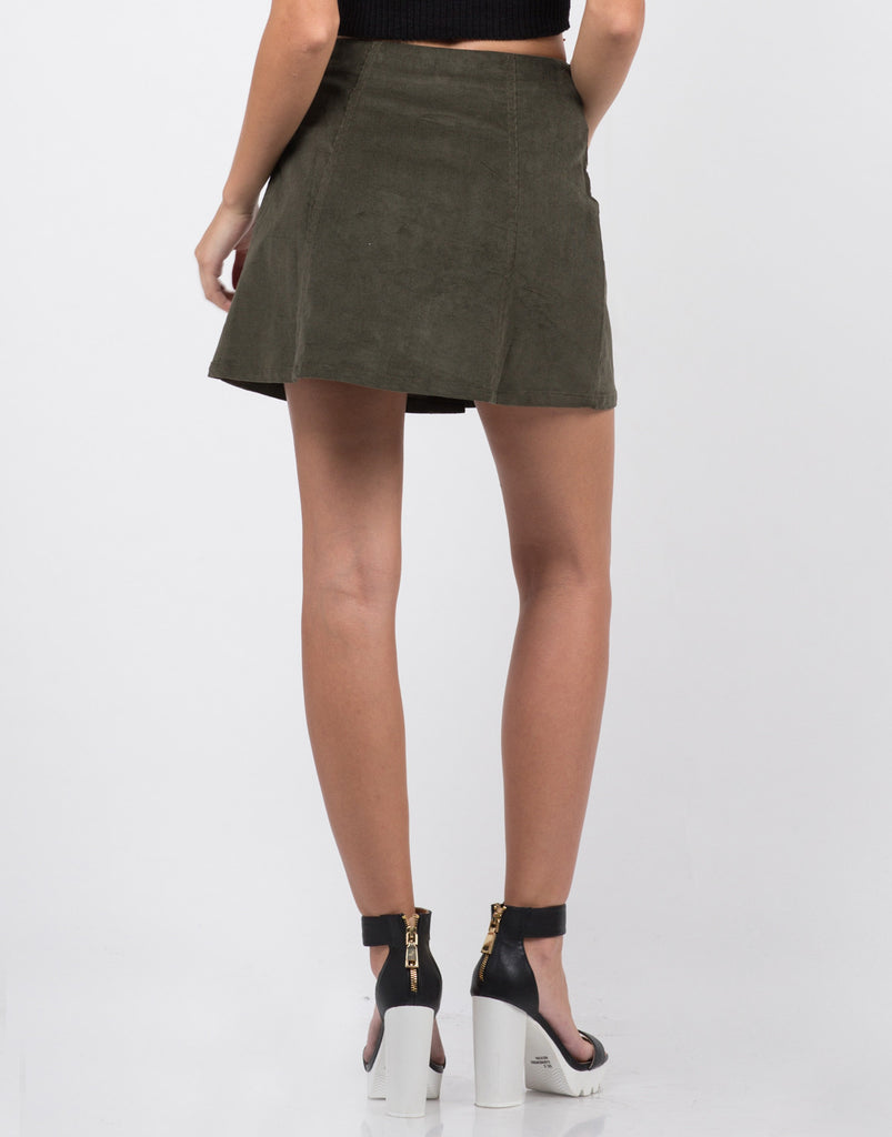 Back View of Button Down Corduroy Mini Skirt