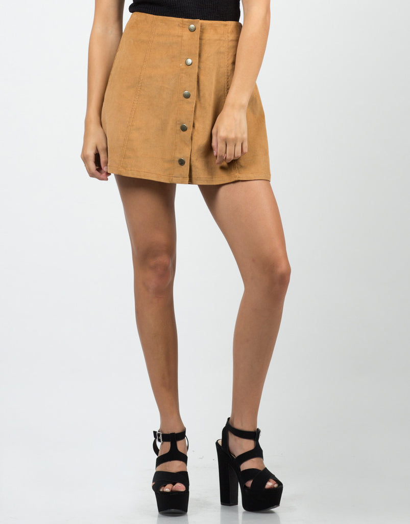 Front View of Button Down Corduroy Mini Skirt
