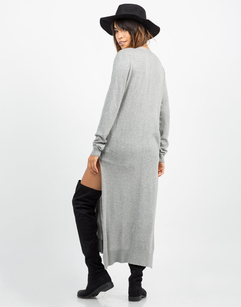 Back View of Button Down Long Cardigan