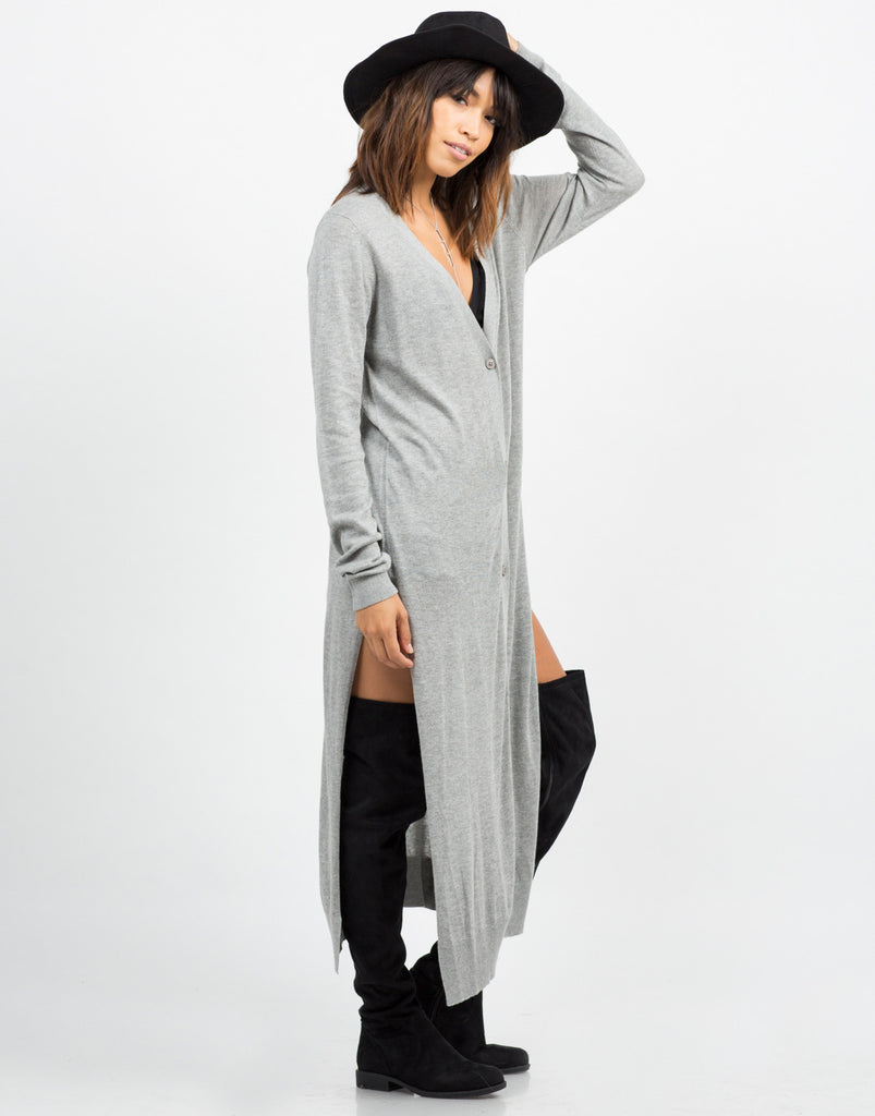 Side View of Button Down Long Cardigan