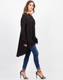 Side View of Button Down Tunic Blouse