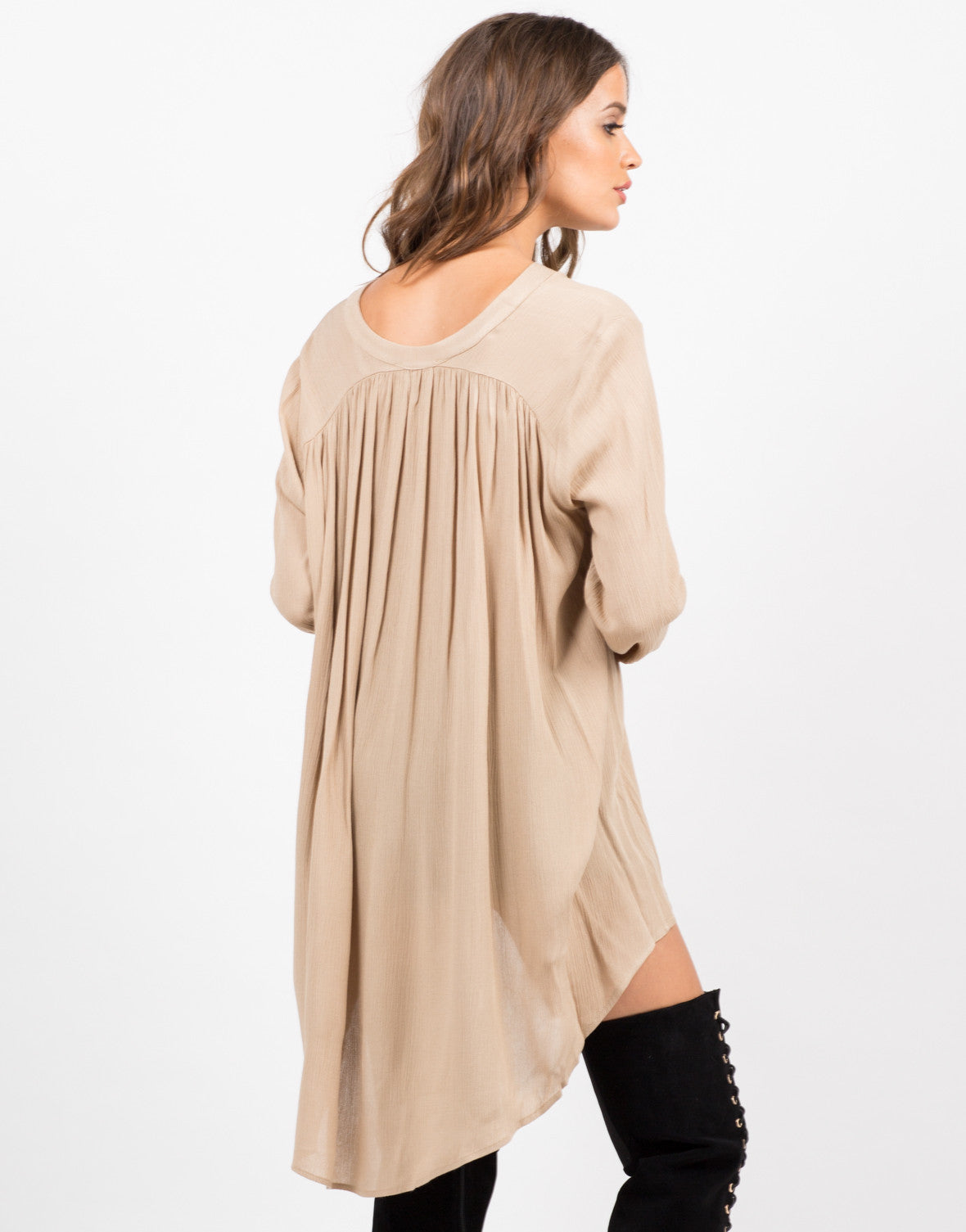 Back View of Button Down Tunic Blouse