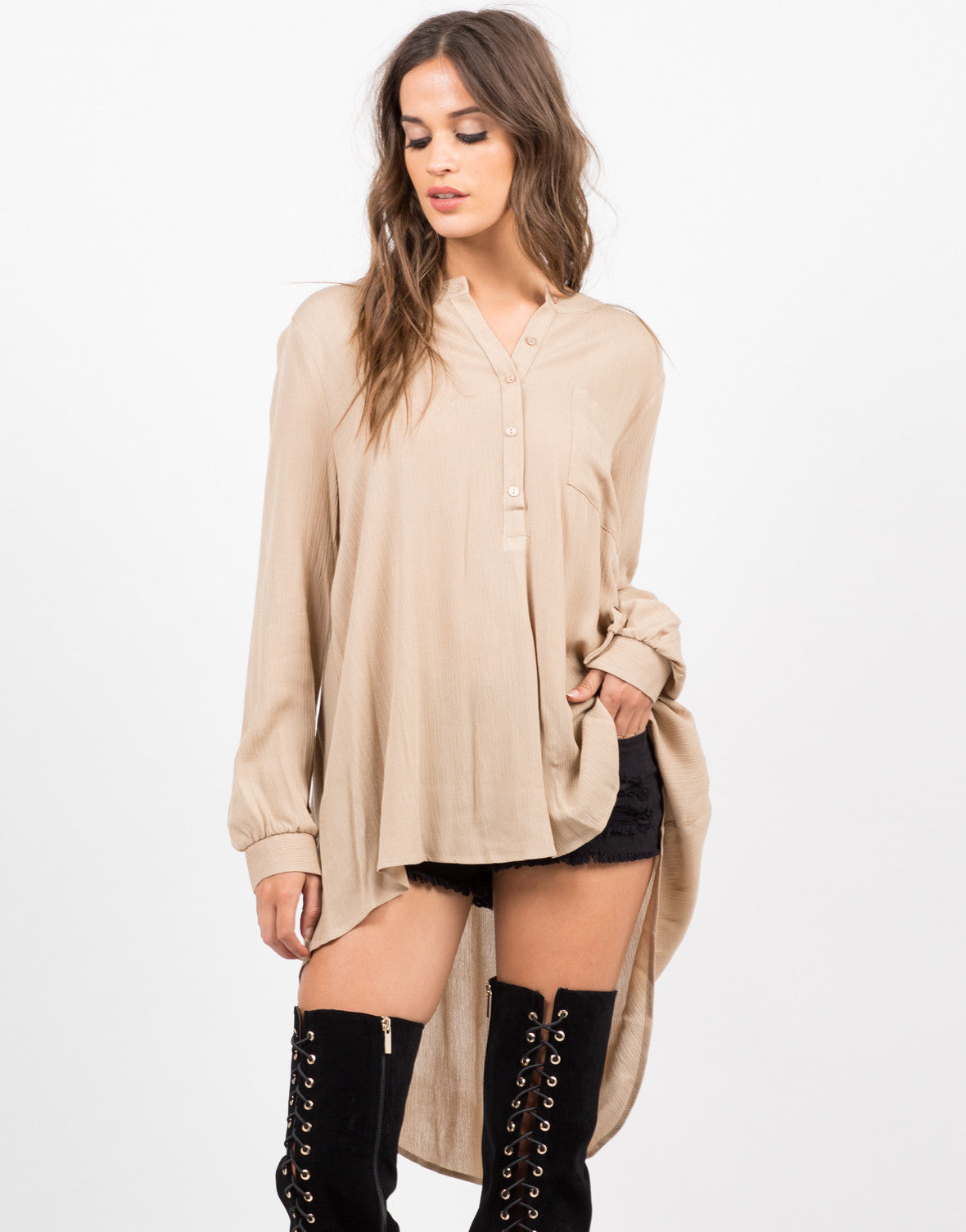 Front View of Button Down Tunic Blouse