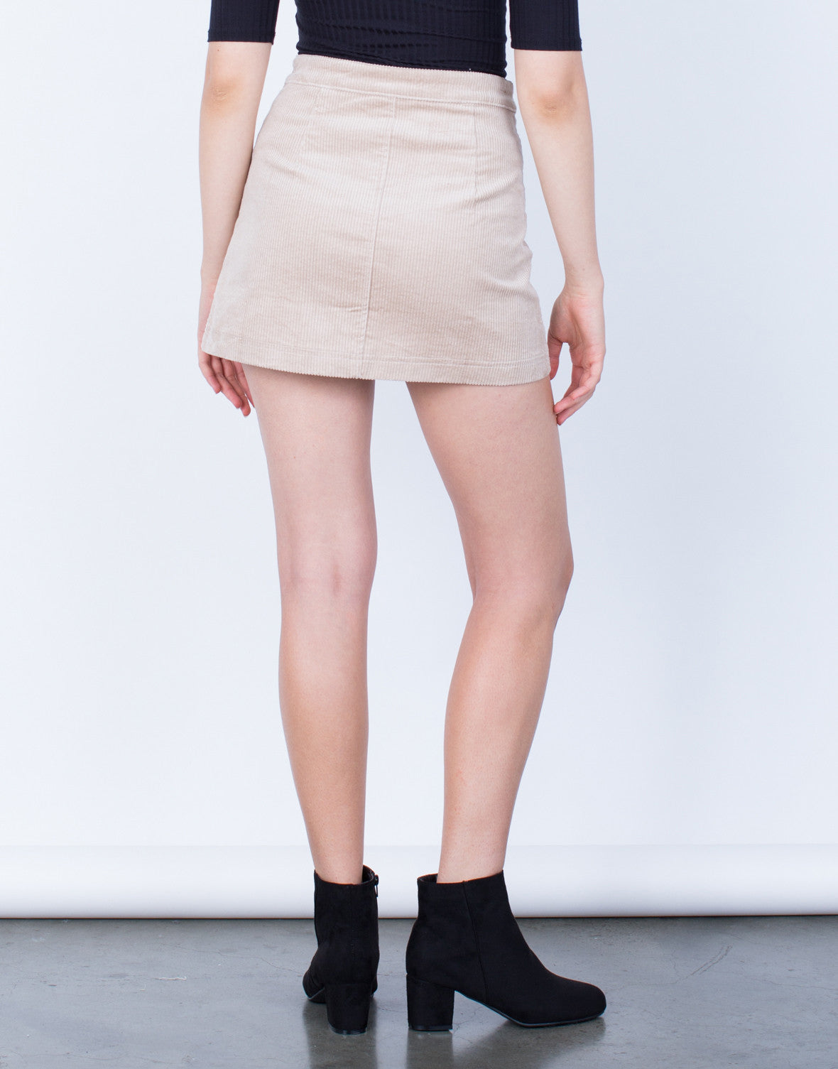 Back View of Buttoned Corduroy Mini Skirt