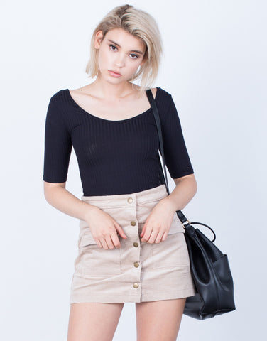 Front View of Buttoned Corduroy Mini Skirt