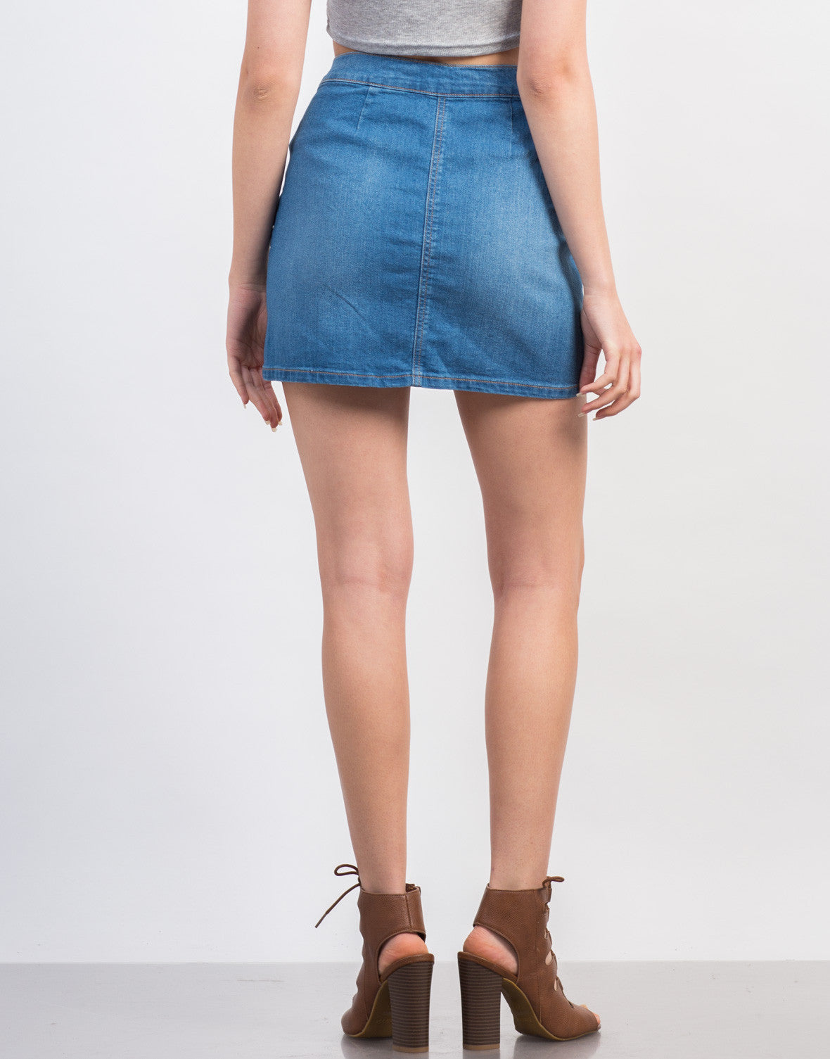 Back View of Buttoned Denim Skirt