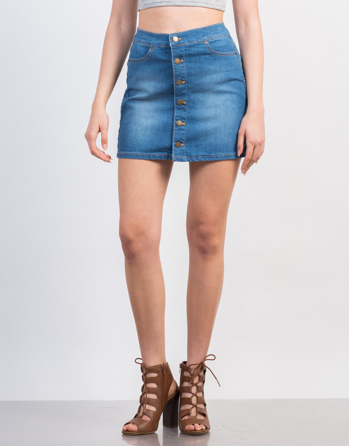 Front View of Buttoned Denim Skirt