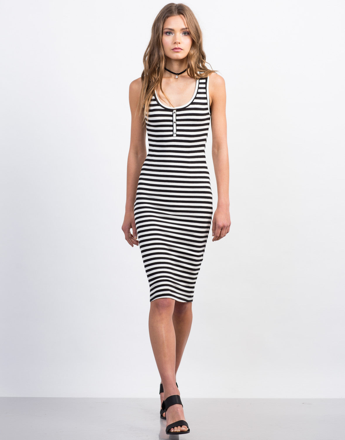 Front View of Buttoned Stripe Midi Dress