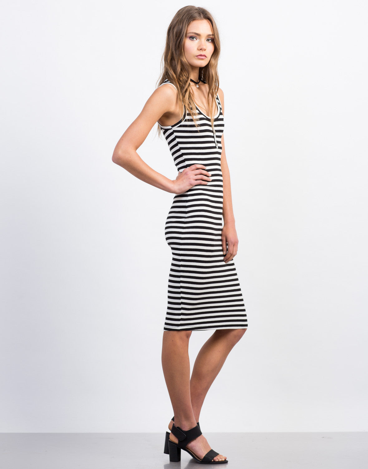Side View of Buttoned Stripe Midi Dress