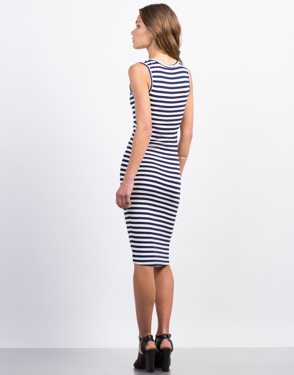 Back View of Buttoned Stripe Midi Dress