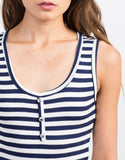 Detail of Buttoned Stripe Midi Dress