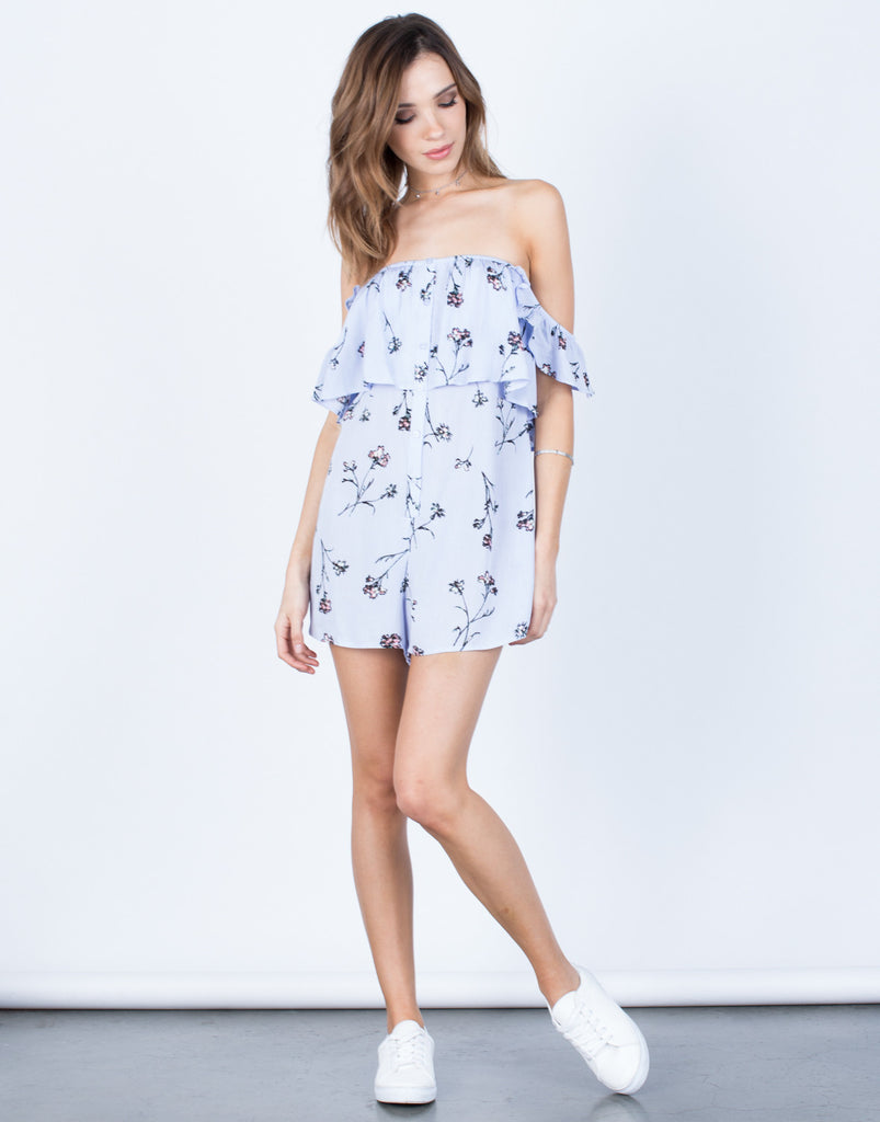 Front View of Buttoned Up Floral Romper