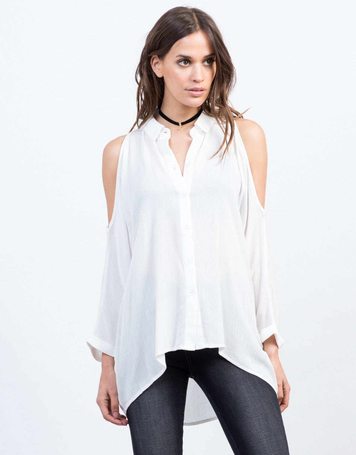 Front View of Buttoned Cold Shoulder Blouse