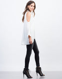Side View of Buttoned Cold Shoulder Blouse