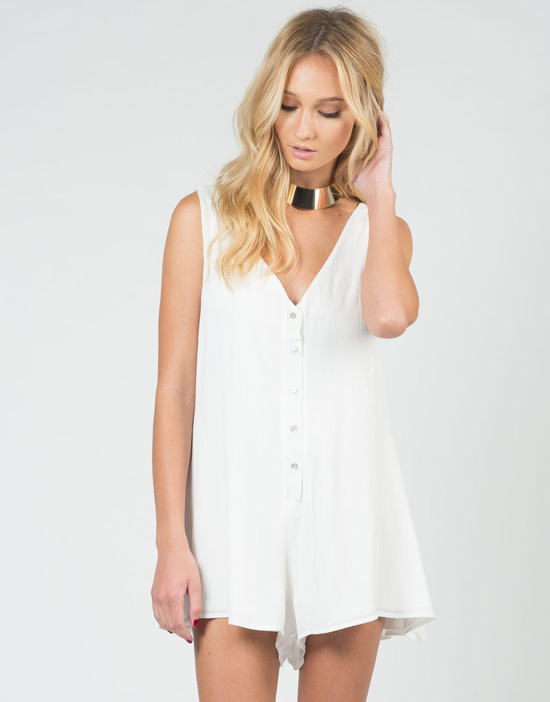 Front View of Buttoned Down Romper