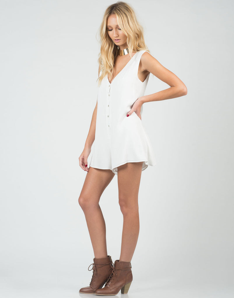 Side View of Buttoned Down Romper
