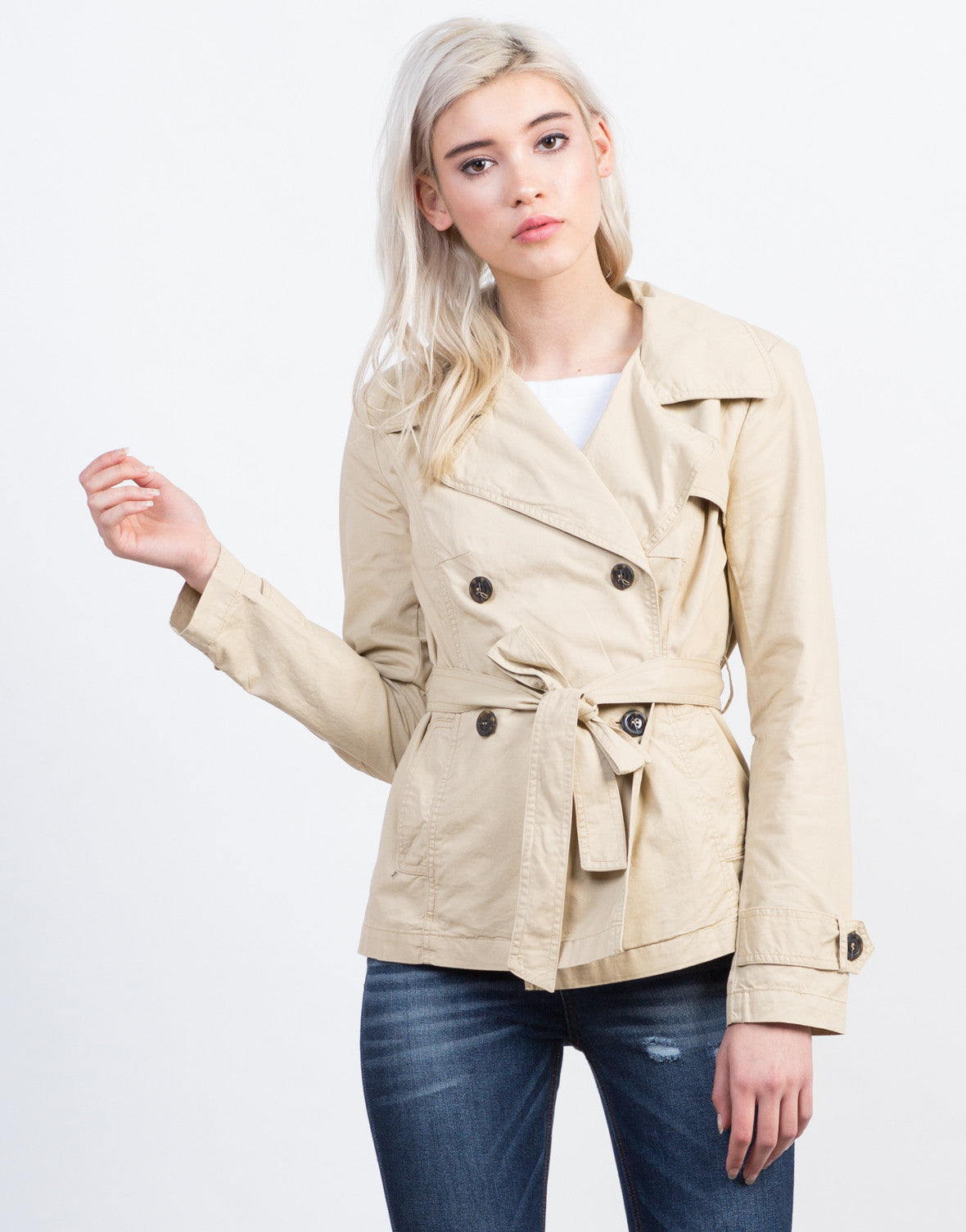 Front View of Buttoned Front Utility Jacket