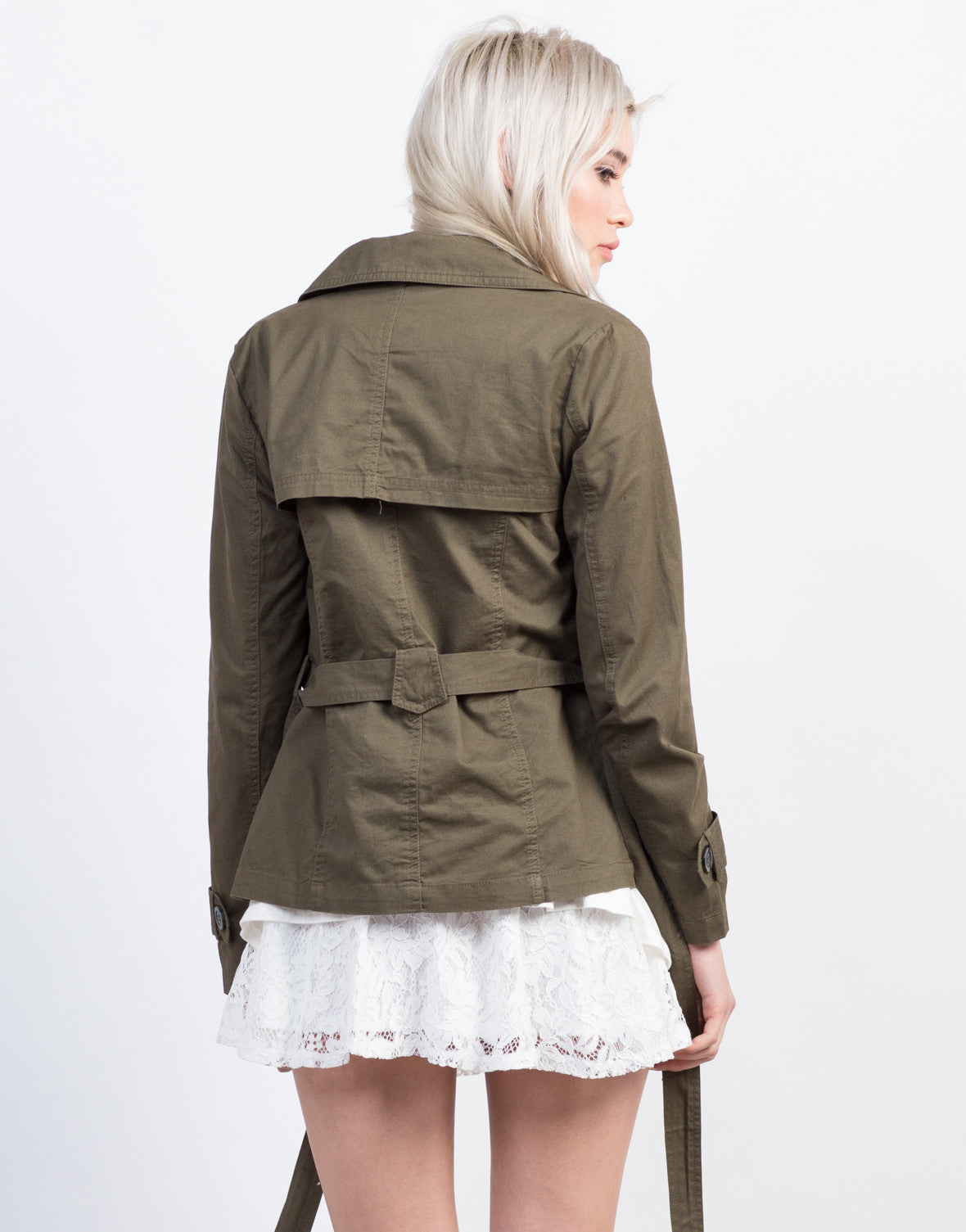 Back View of Buttoned Front Utility Jacket