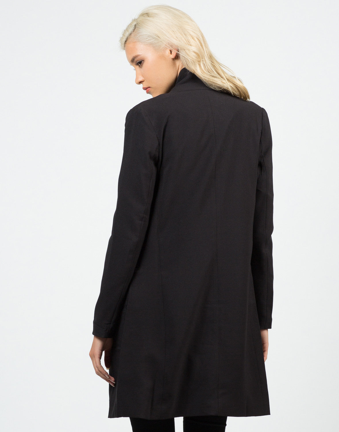 Back View of Buttoned Long Blazer Jacket