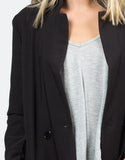 Detail of Buttoned Long Blazer Jacket