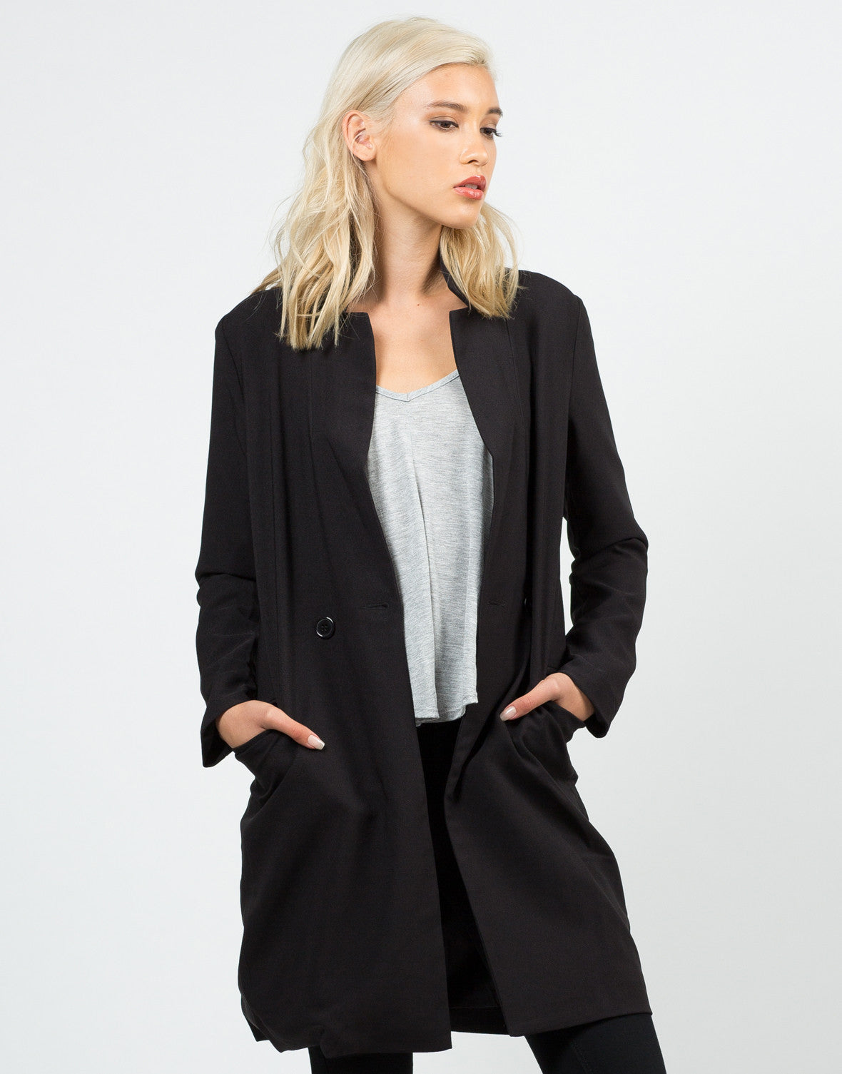 Front View of Buttoned Long Blazer Jacket