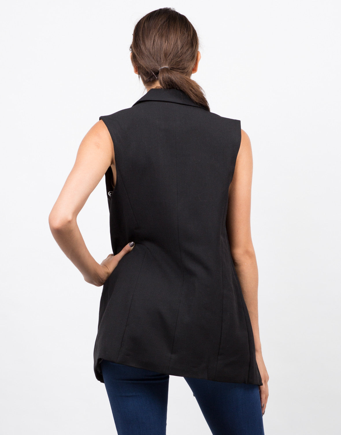 Back View of Back View of Buttoned Long Vest