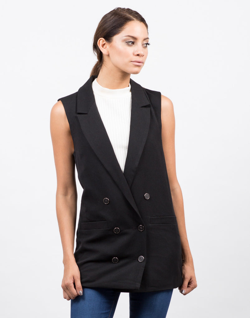Front View of Front View of Buttoned Long Vest