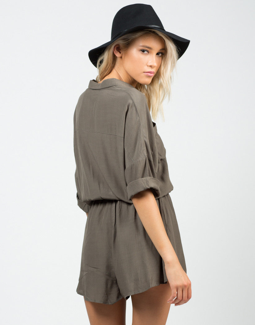 Back View of Buttoned Shirt Romper