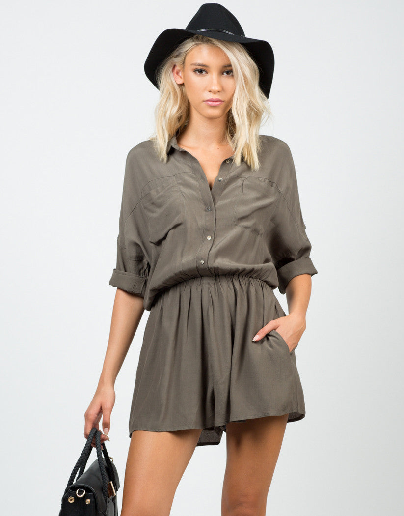 Front View of Buttoned Shirt Romper