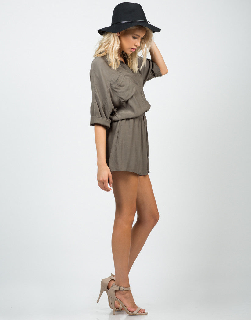 Side View of Buttoned Shirt Romper
