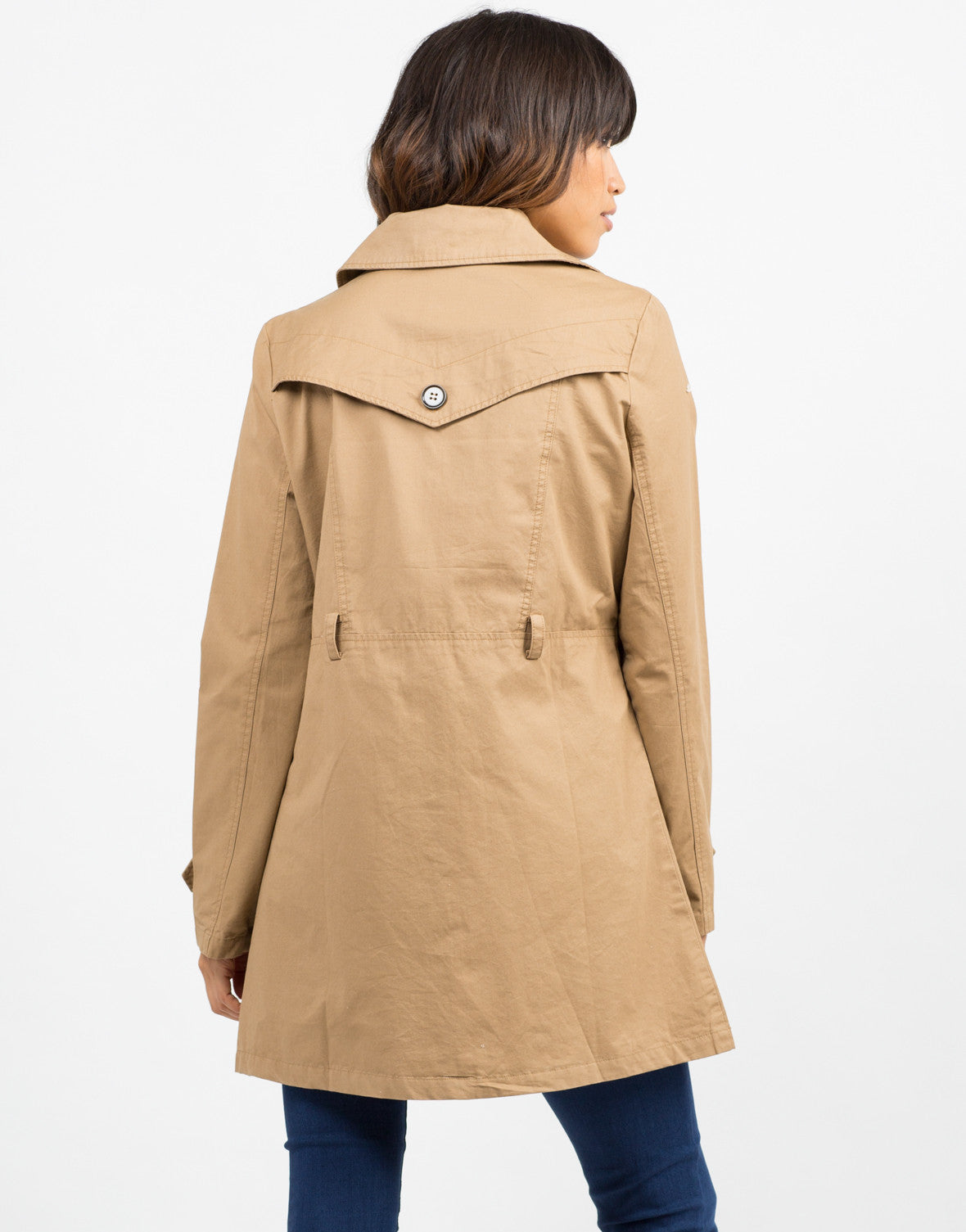 Back View of Button Front Belted Trench Coat