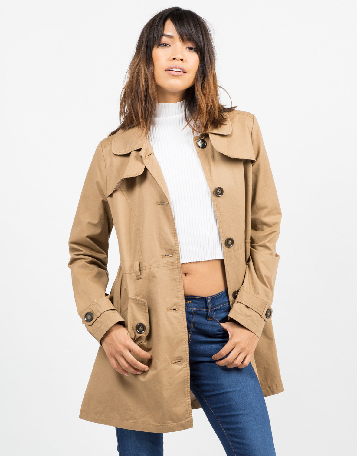 Front View of Button Front Belted Trench Coat