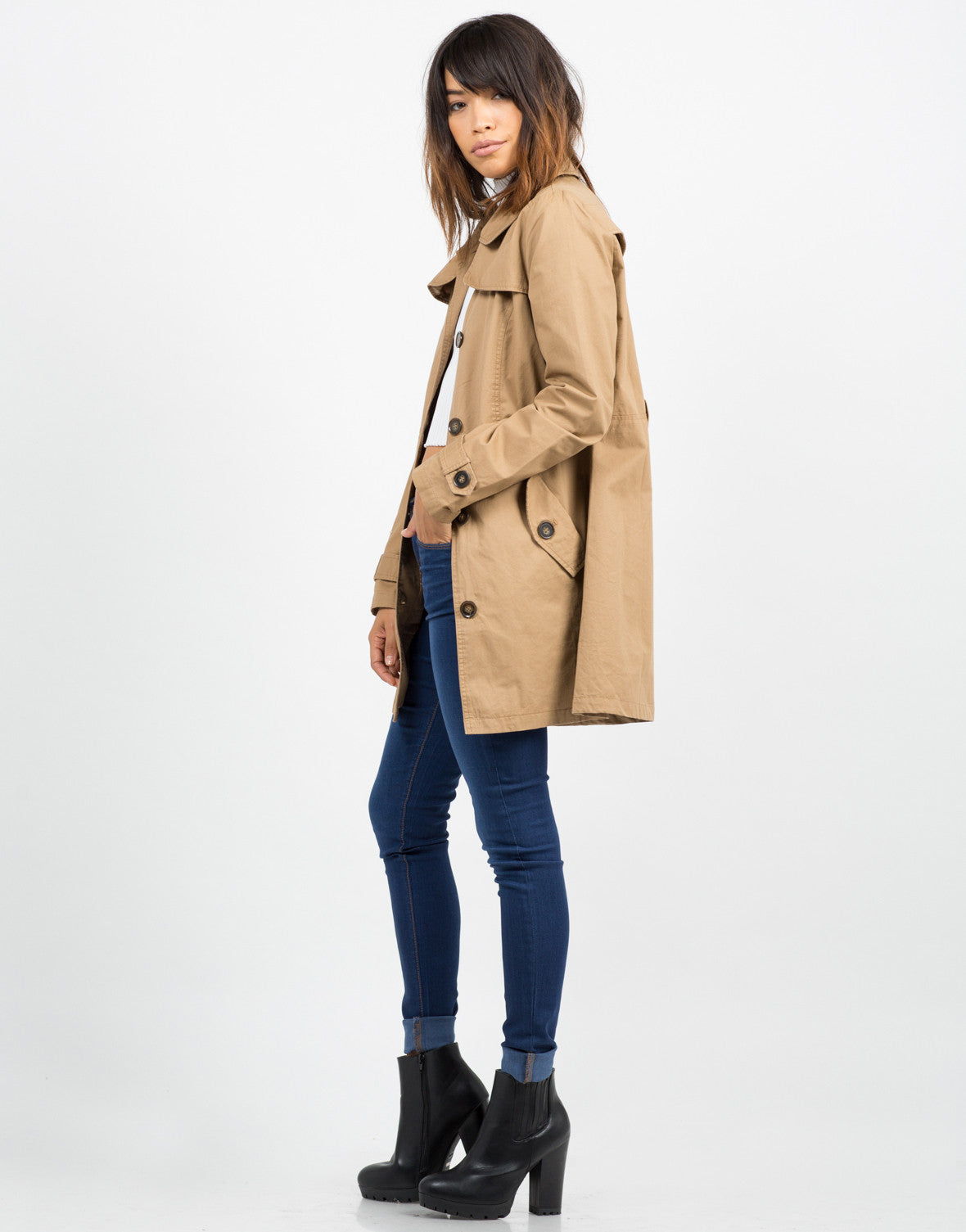 Side View of Button Front Belted Trench Coat