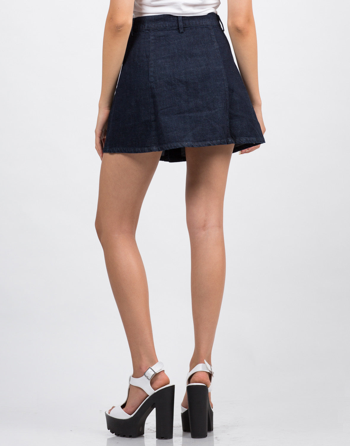 back view of button front denim skirt