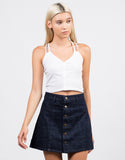 Front View of Button Front Denim Skirt