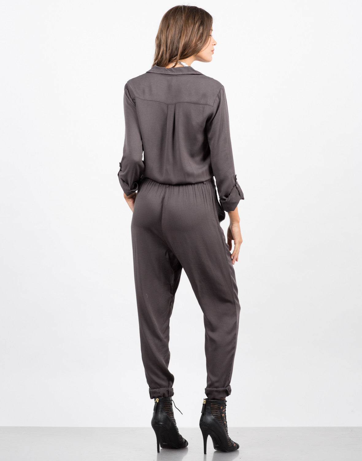 Back View of Button Front Jumpsuit
