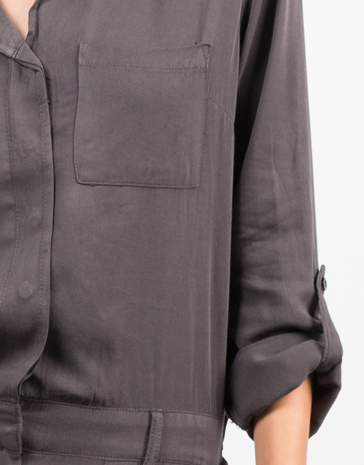 Detail of Button Front Jumpsuit