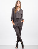 Front View of Button Front Jumpsuit