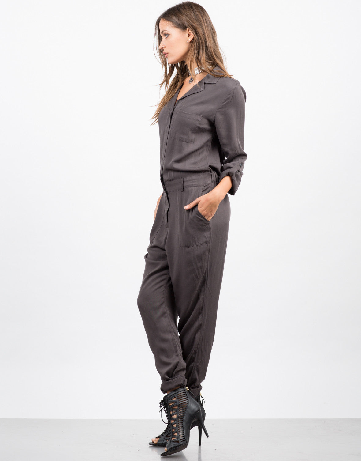 Side View of Button Front Jumpsuit