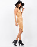 Side View of Button Front Suede Dress