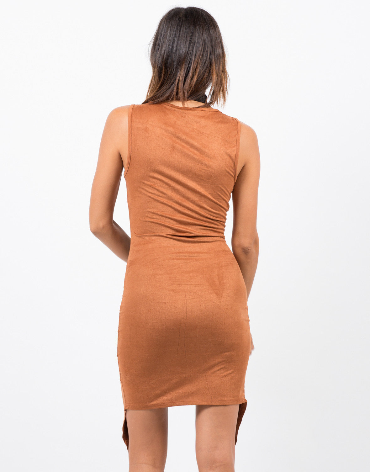 Back View of Button Front Suede Dress