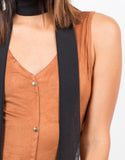 Detail of Button Front Suede Dress
