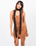 Front View of Button Front Suede Dress