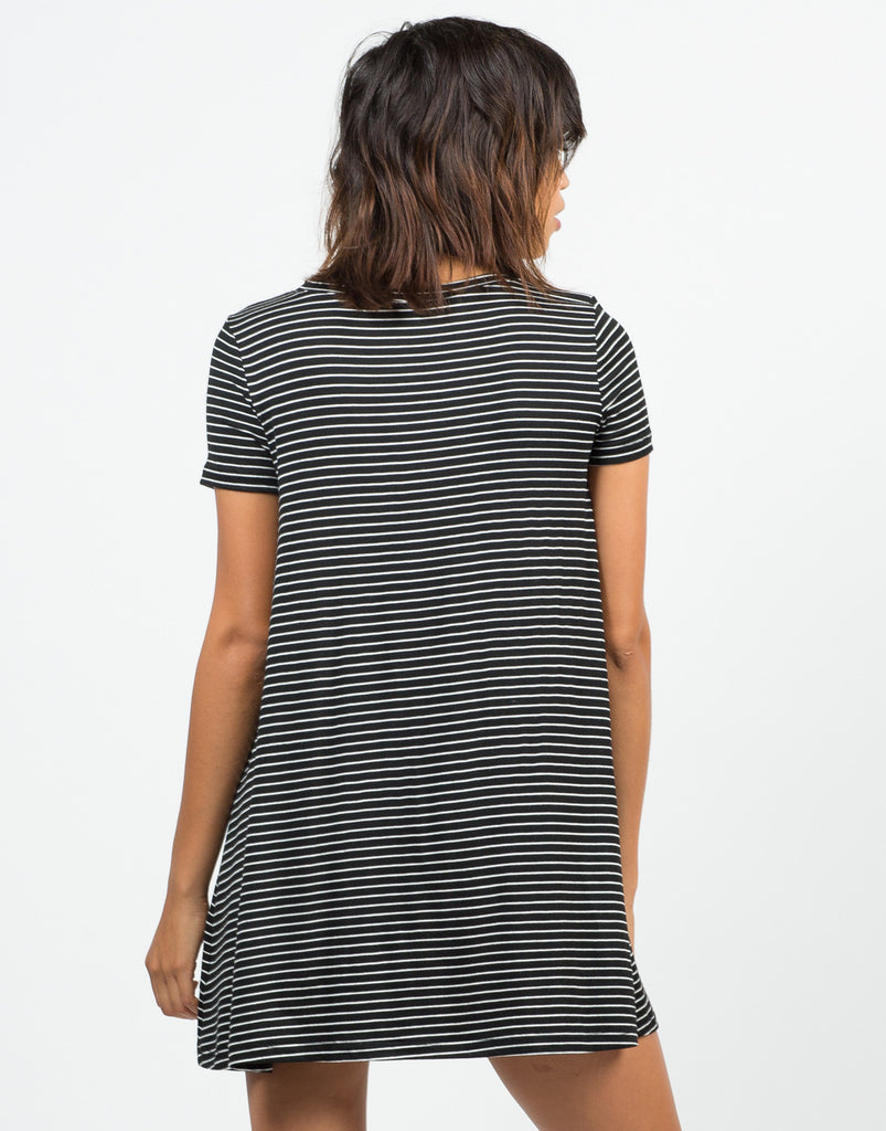 Back View of B&W Striped Dress